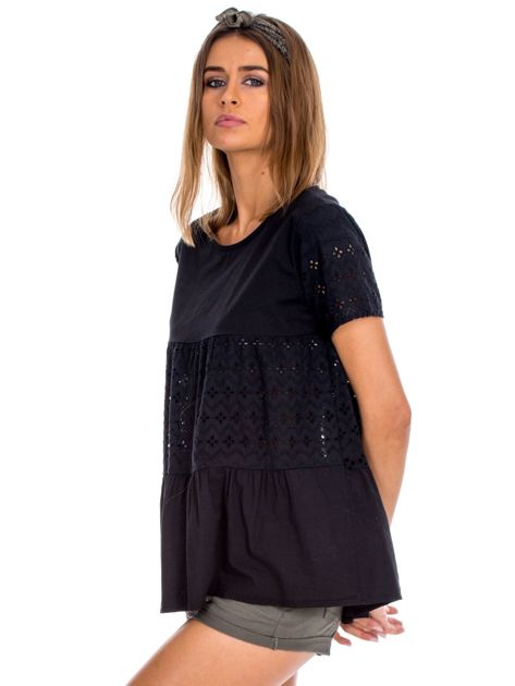 Czarna bluzka z ażurowymi wstawkami                              zdj.                              5