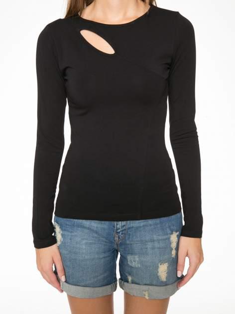 Czarna bluzka z dekoltem cut out                                  zdj.                                  8