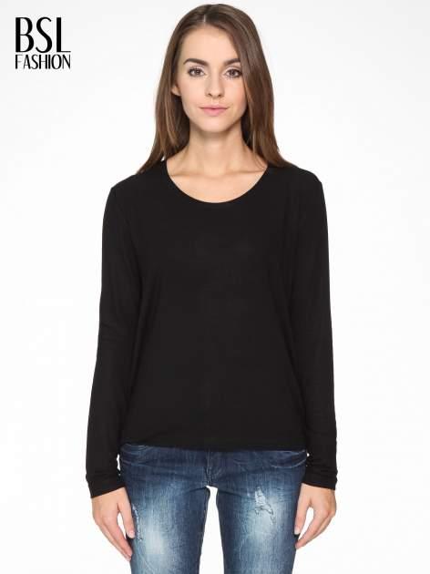 Czarna bluzka z dekoltem cut out                                  zdj.                                  1