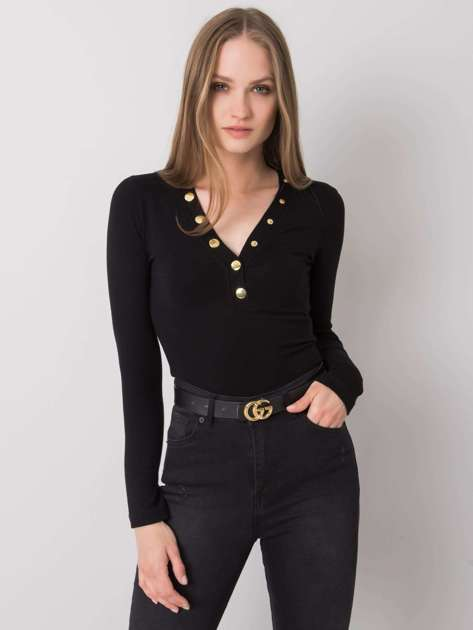 Czarna bluzka z długim rękawem Nadie