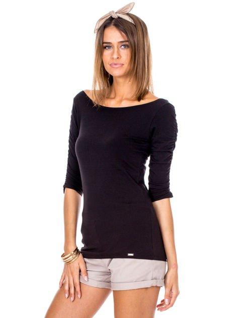 Czarna bluzka z marszczeniem na ramionach                              zdj.                              3