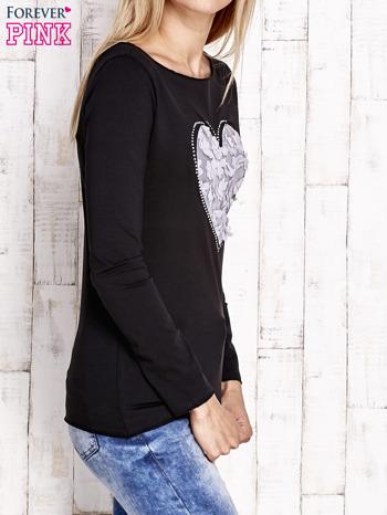 Czarna bluzka z materiałową wstawką                                  zdj.                                  3