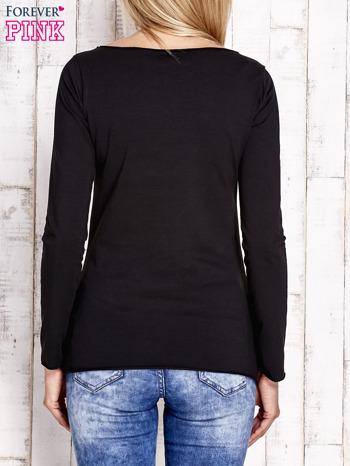 Czarna bluzka z materiałową wstawką                                  zdj.                                  4