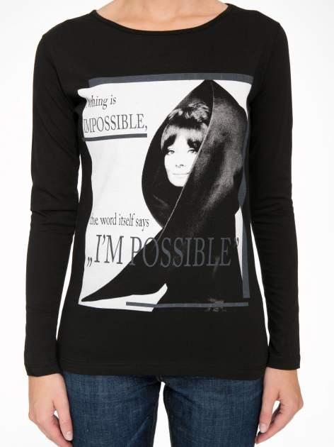 Czarna bluzka z nadrukiem Audrey Hepburn                                  zdj.                                  8
