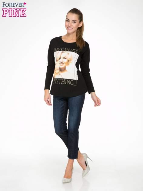 Czarna bluzka z nadrukiem Marylin Monroe                                  zdj.                                  2