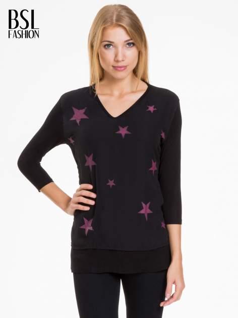 Czarna bluzka z nadrukiem bordowych gwiazdek                              zdj.                              1