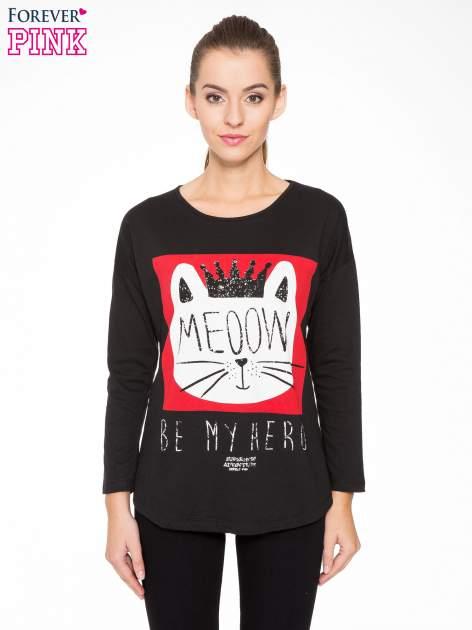 Czarna bluzka z nadrukiem kota z koroną i napisem MEOW                                  zdj.                                  1