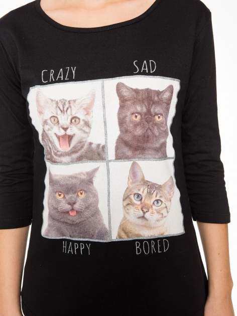 Czarna bluzka z nadrukiem kotów                                  zdj.                                  7