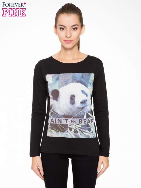 Czarna bluzka z nadrukiem pandy