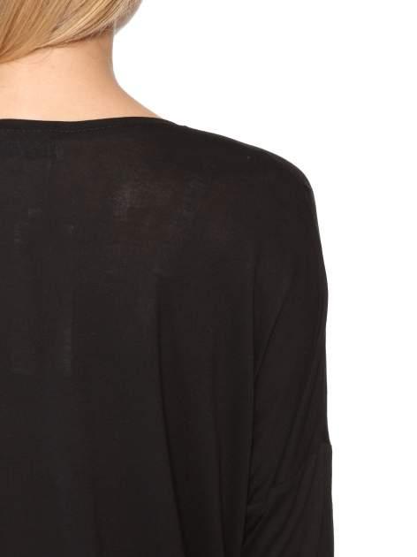 Czarna bluzka z panterkowym modułem i obniżaną linią ramion                                  zdj.                                  11