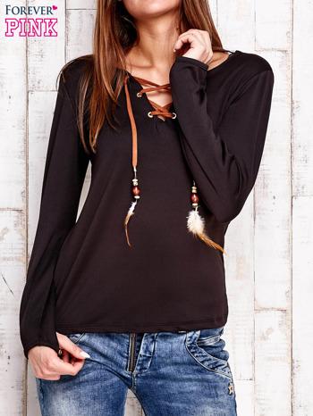 Czarna bluzka z wiązaniem w stylu boho                                  zdj.                                  1