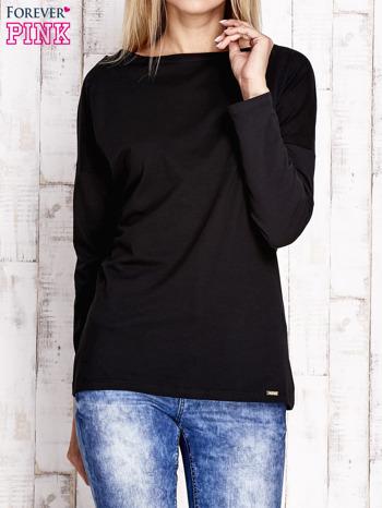 Czarna bluzka z wycięciem na plecach i kokardą                                  zdj.                                  1