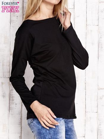 Czarna bluzka z wycięciem na plecach i kokardą                                  zdj.                                  3
