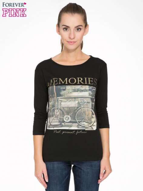 Czarna bluzka z złotym brokatowym napisem MEMORIES                                  zdj.                                  1