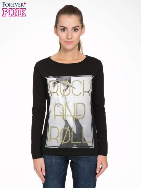 Czarna bluzka ze złotym brokatowym napisem ROCK AND ROLL                                  zdj.                                  1