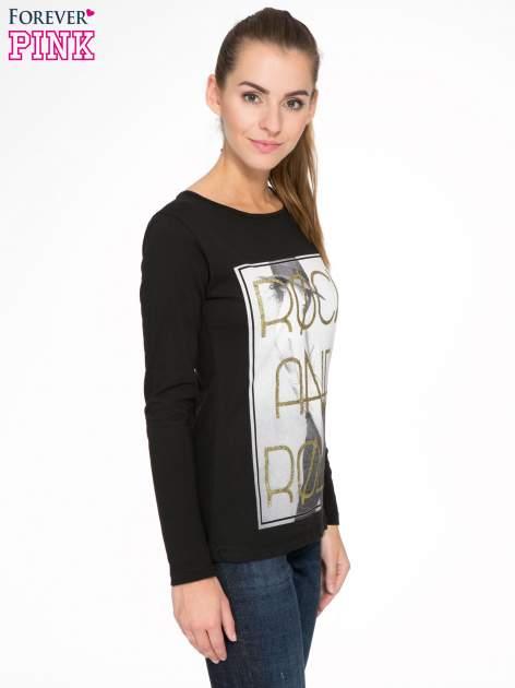Czarna bluzka ze złotym brokatowym napisem ROCK AND ROLL                                  zdj.                                  3