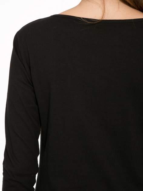 Czarna bluzka ze złotym brokatowym napisem ROCK AND ROLL                                  zdj.                                  7