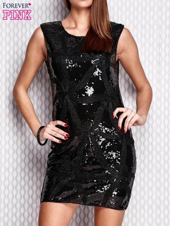 Czarna cekinowa sukienka                                  zdj.                                  1