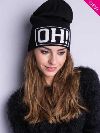 Czarna czapka beanie z napisem OH