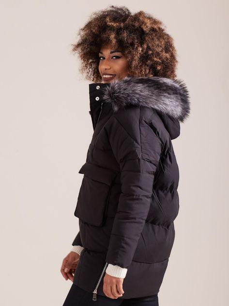 Czarna damska kurtka zimowa                              zdj.                              5