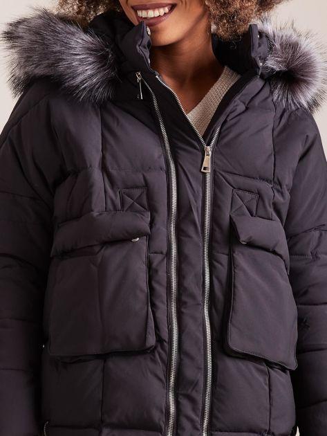Czarna damska kurtka zimowa                              zdj.                              6