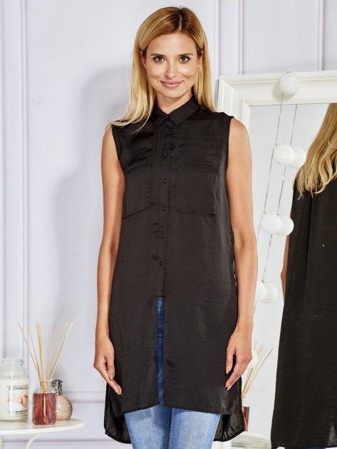 Czarna dłuższa koszula z kieszeniami