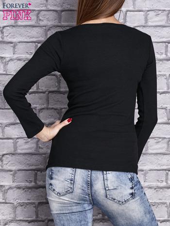 Czarna dopasowana gładka bluzka w prążek                                  zdj.                                  4