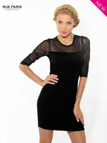 Czarna dopasowana sukienka pokryta na górze siateczką                                  zdj.                                  2