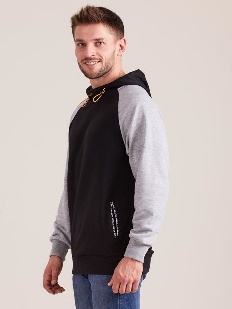 Czarna dresowa bluza męska z kapturem                              zdj.                              2