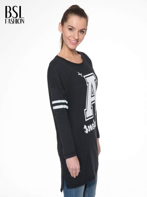 Czarna dresowa bluza z literą A w stylu baseballowym                                  zdj.                                  3