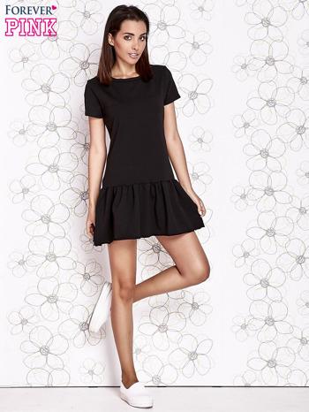 Czarna dresowa sukienka z wycięciem na plecach                                   zdj.                                  2