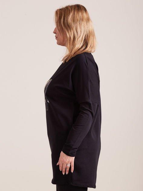 Czarna dresowa tunika z aplikacją PLUS SIZE                              zdj.                              3