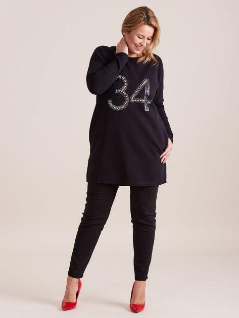 Czarna dresowa tunika z aplikacją PLUS SIZE                              zdj.                              4