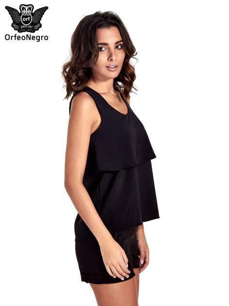 Czarna dwuwarstwowa bluzka koszulowa                                  zdj.                                  3