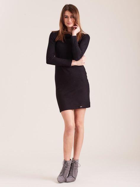 Czarna dzianinowa sukienka z golfem                              zdj.                              4