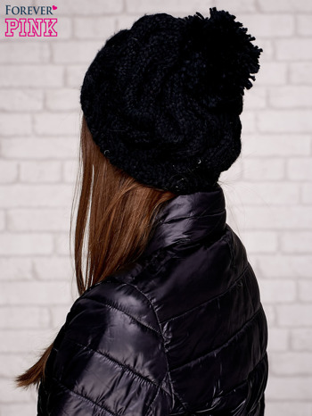 Czarna dziergana czapka z pomponem                                   zdj.                                  2