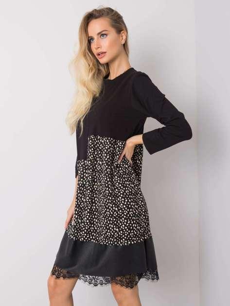 Czarna-ecru sukienka Mannon