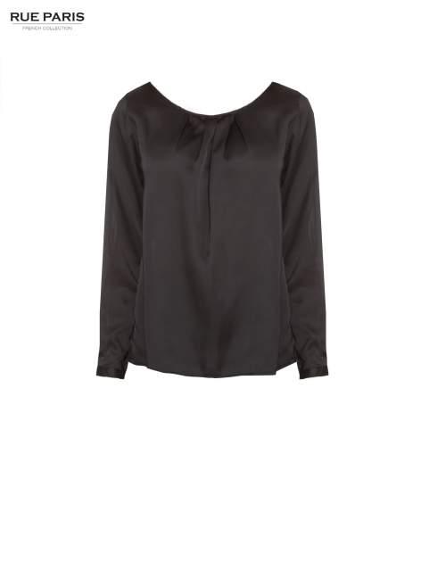 Czarna elegancka atłasowa koszula z zakładkami przy dekolcie                                  zdj.                                  5