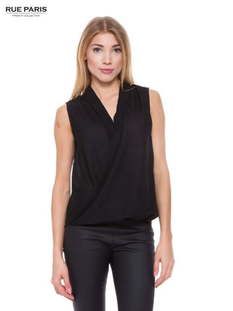 Czarna elegancka koszula z kopertowym dekoltem                                  zdj.                                  1