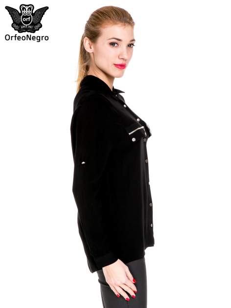Czarna elegancka koszula z suwakami i napami                                  zdj.                                  3