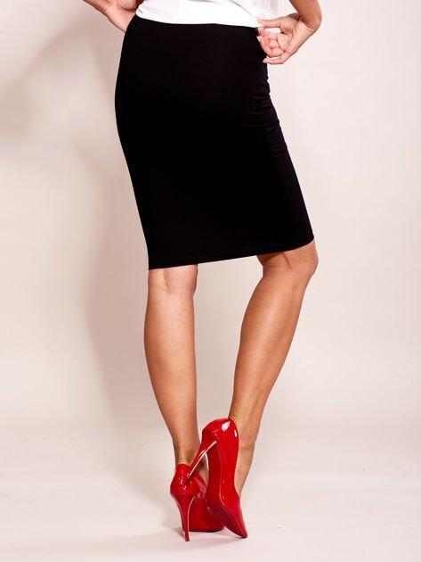 Czarna elegancka spódnica ołówkowa z kieszeniami                              zdj.                              2