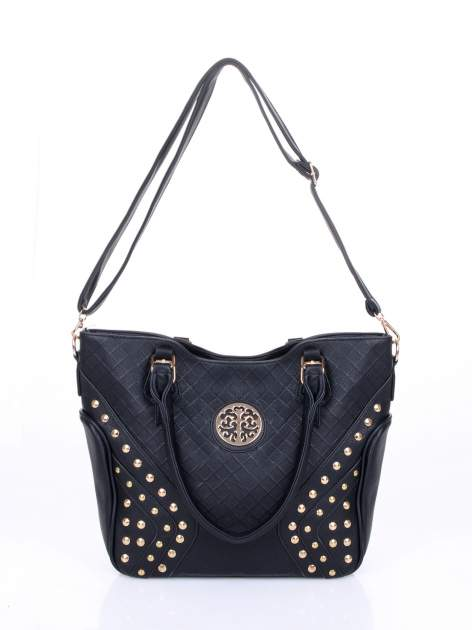 Czarna fakturowana torba ze złotymi nitami                                  zdj.                                  6