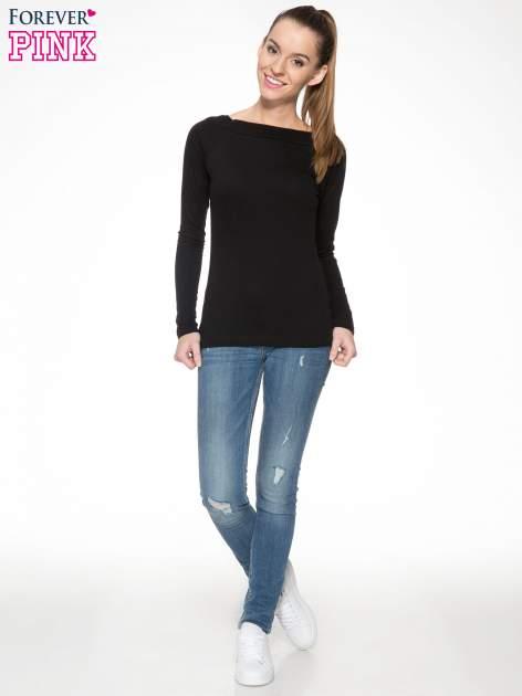 Czarna gładka bluzka z reglanowymi rękawami                                  zdj.                                  2