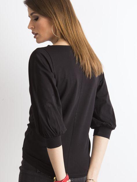 Czarna gładka bluzka z rękawem 3/4                              zdj.                              2