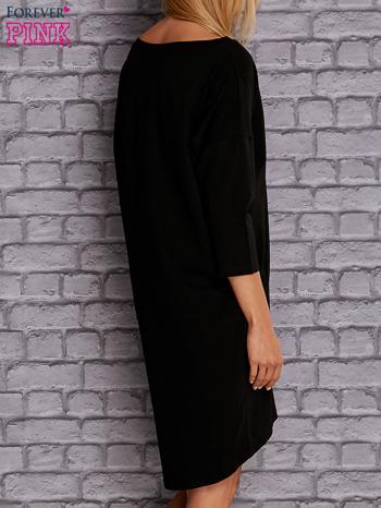 Czarna gładka sukienka oversize                                  zdj.                                  4