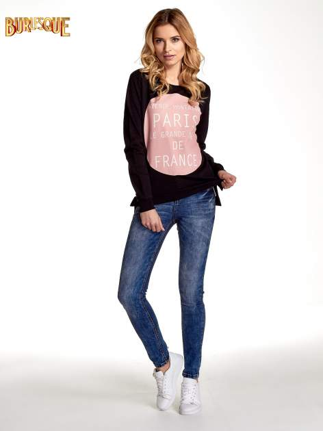 Czarna klasyczna bluza damska z napisem AVENUE MONTAIGNE                                  zdj.                                  2