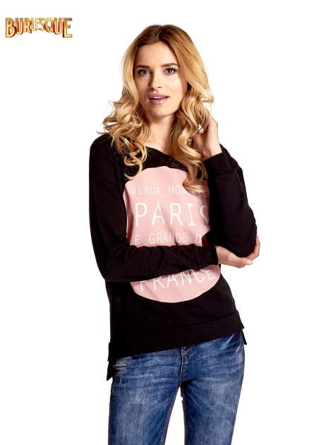Czarna klasyczna bluza damska z napisem AVENUE MONTAIGNE                                  zdj.                                  1