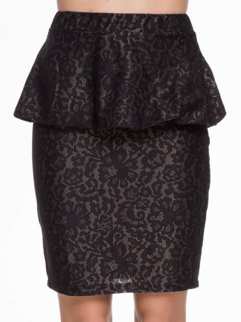 Czarna koronkowa mini spódnica z baskinką                                  zdj.                                  6