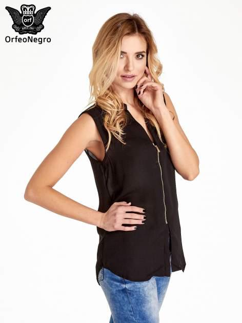 Czarna koszula V-neck z suwakiem                                  zdj.                                  3