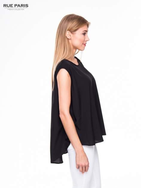 Czarna koszula dzwonek z wydłużanym tyłem                                  zdj.                                  3